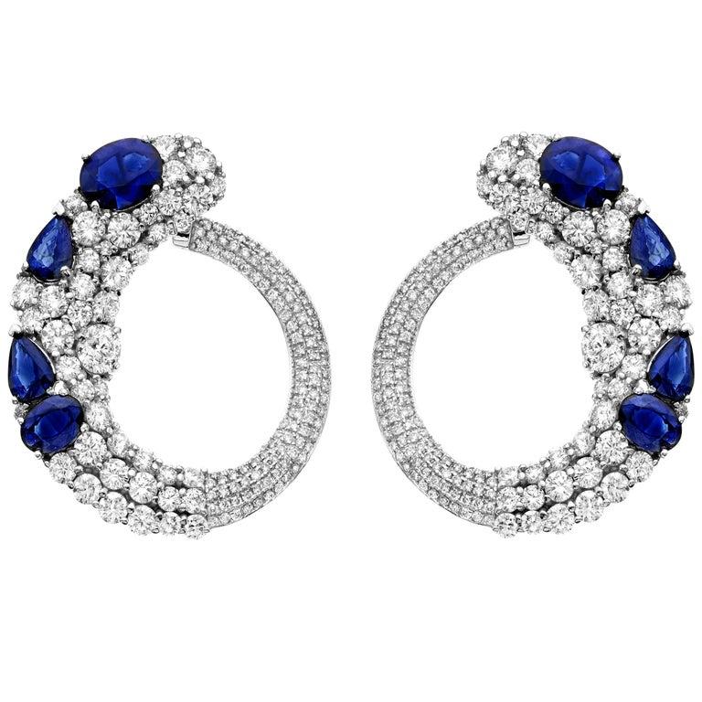 19.00 Carat Total Weight Ceylon Sapphire Diamond Earrings