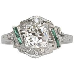 1920s Art Deco White Gold GIA Certified Old European Brilliant Cut Diamond Ring