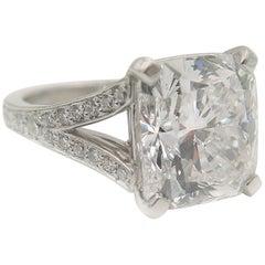 GIA Certified 7.02 Carat Cushion Cut Diamond Engagement Ring