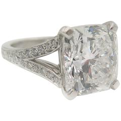 GIA Certified 7.02 Carat Cushion Cut Diamond Engagement Ring