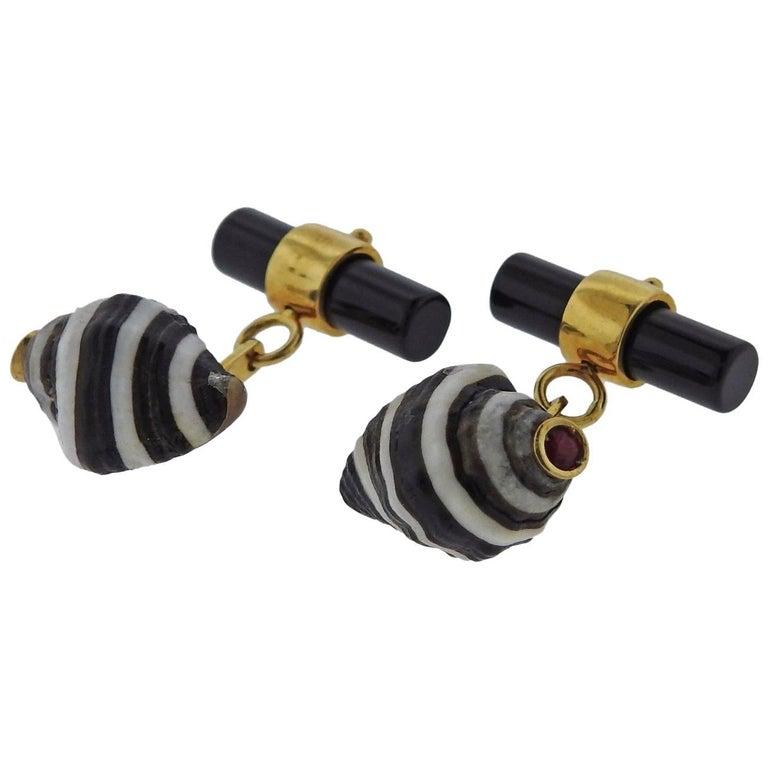 Italian Gold Shell Onyx Ruby Cufflinks 1