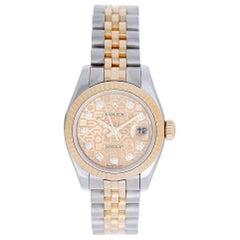 Rolex Ladies Yellow Gold Stainless Steel Jubilee Diamond Automatic Wristwatch