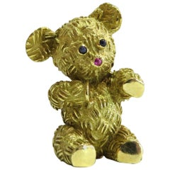 Adorable Gold Teddy Bear Pin with Ruby and Sapphires