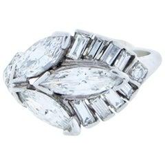 1950s Marquise Diamond Platinum Ring