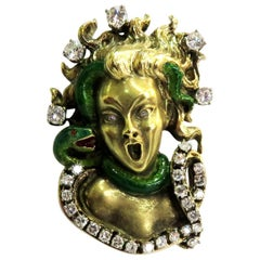 Dramatic Mario Boschi Gold Medusa Diamond Enamel Snake Pin