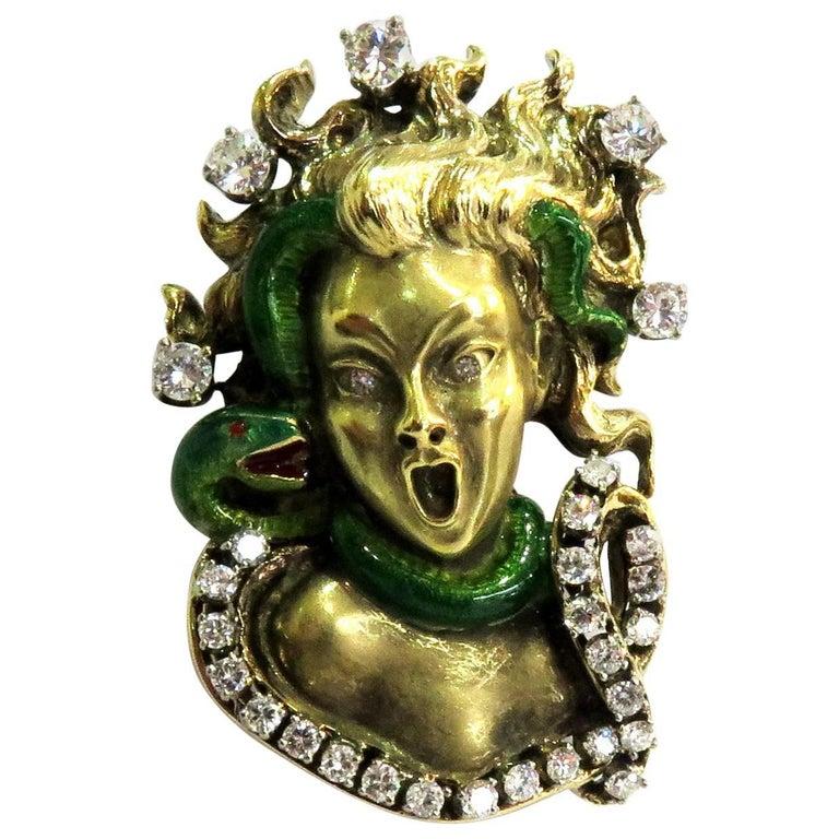 Dramatic Mario Boschi Gold Medusa Diamond Enamel Snake Pin For Sale