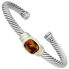 D. Yurman 14 Karat Yellow Gold Sterling Silver Citrine Bracelet