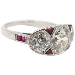Art Deco Old European Cut Diamond Ruby Platinum Ring