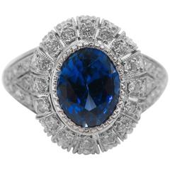 Oval Sapphire Diamond Platinum Ring