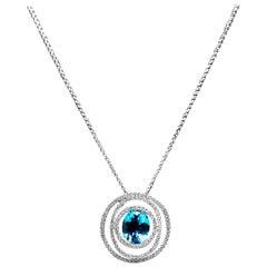 Blue Topaz and Diamond Pendant Necklace in 18 Karat White Gold