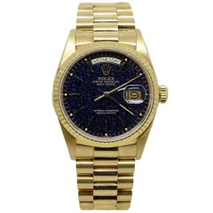 Rolex Yellow Gold Blue Jubilee Dial President Automatic Wristwatch Ref. 18038