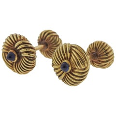 Tiffany & Co. Schlumberger Gold Sapphire Cufflinks