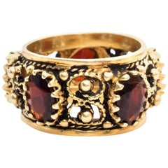 1940s Garnet Cigar Ring Band