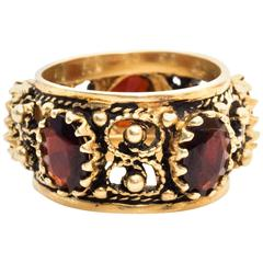 1940s Garnet Cigar Ring Band