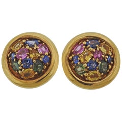 Chaumet Paris Gold Multi-Color Sapphire Earrings
