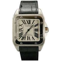 Cartier Stainless Steel Small Santos 100 deployant clasp automatic wristwatch