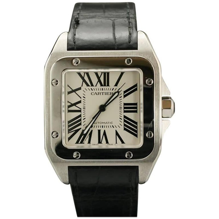 Cartier Stainless Steel Small Santos 100 deployant clasp automatic wristwatch  1