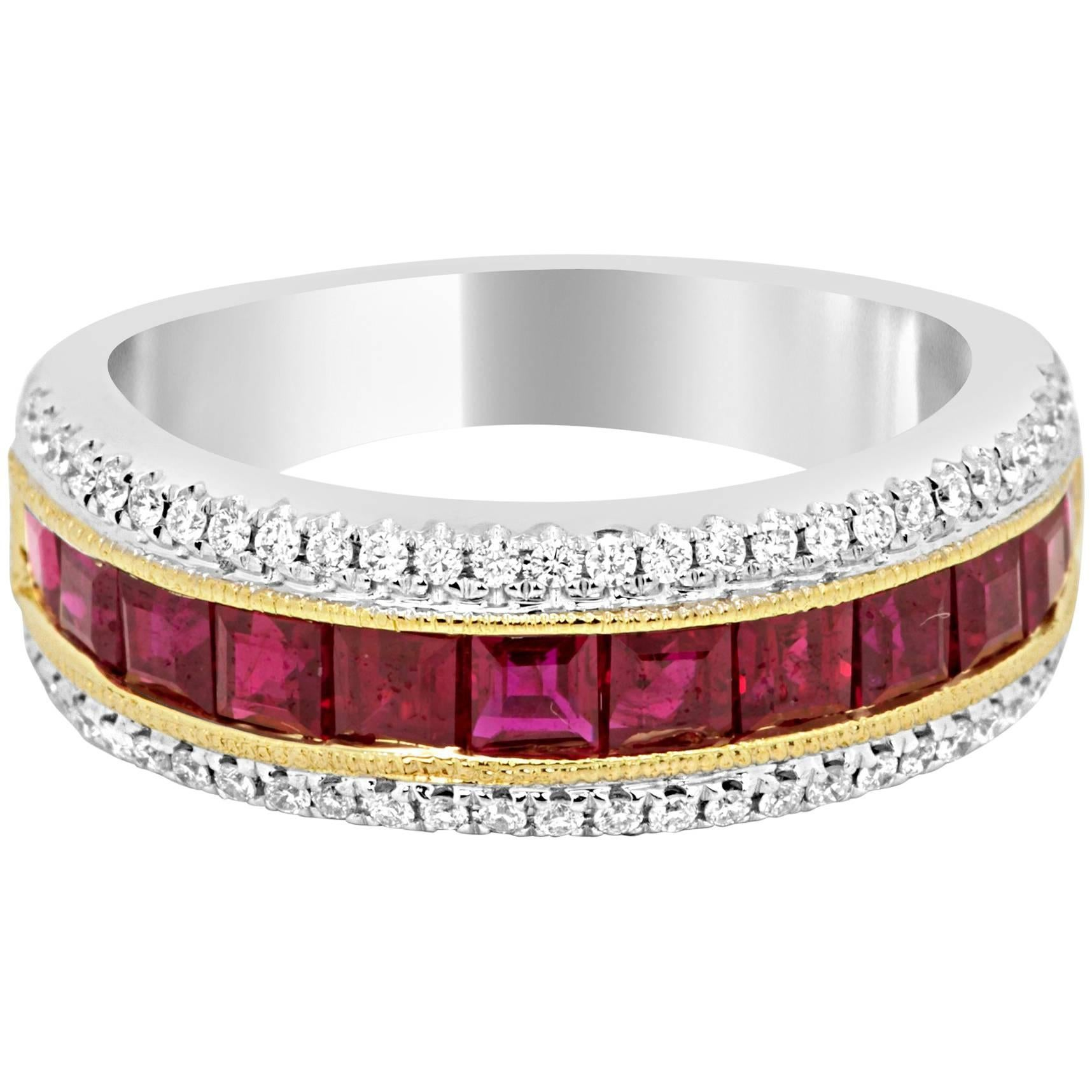 Square Ruby Channel Set Diamond Round Two Color Gold Fashion Cocktail Band Ring