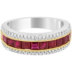 Square Ruby Diamond Two Color Gold Band Ring