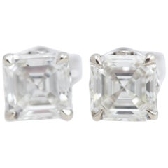 Pair of Asscher Cut Diamond White Gold Earrings
