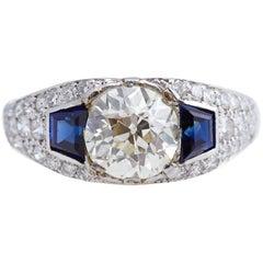 Vintage Platinum Diamond Ring Centre 1.88 Carats