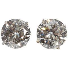 Large Round Diamond Earrings 7.01 Carat
