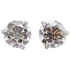 Perfect Pair of Diamond Earring 2.23 Carats GIA D Color Internally Flawless