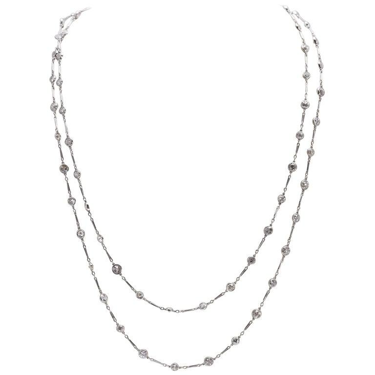 Diamond by the Yard Style Platinum Necklace 20 Carat of Diamonds