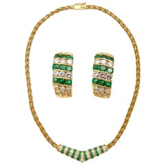 Matching Set 18 Karat Gold Diamonds Emeralds Necklace and Earrings