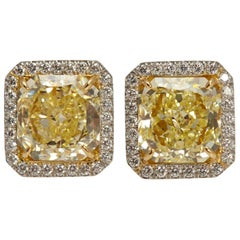Radiant GIA Fancy Yellow Diamond Earrings 6.61 Carat