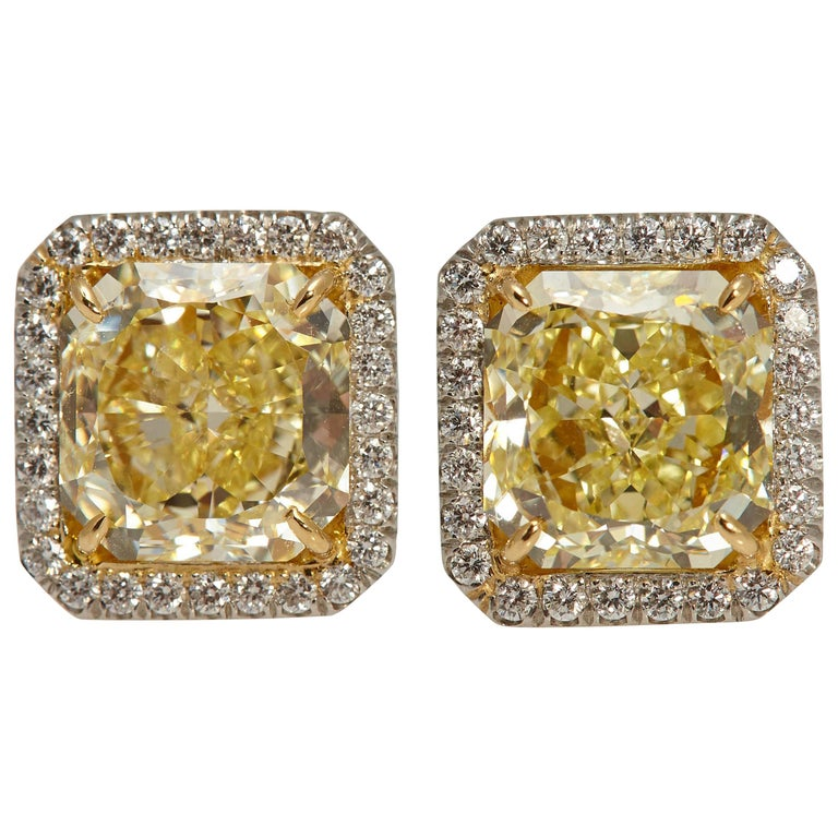 Radiant GIA Fancy Yellow Diamond Earrings 6.61 Carat For Sale
