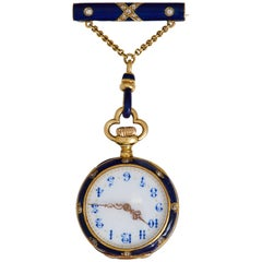 Victorian Ladies yellow Gold Diamond Enamel Shamrock Brooch Watch