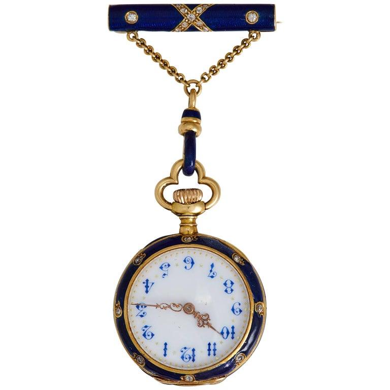 633c918e9 Victorian Ladies yellow Gold Diamond Enamel Shamrock Brooch Watch For Sale