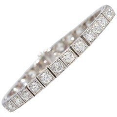 Platinum Diamond Old Mine 12 Carat Tennis Bracelet