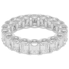 Emilio Jewelry 5.40 Carat Emerald Cut Diamond Eternity Platinum Band