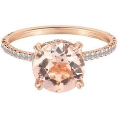 Marisa Perry's Solitaire Two Carat Morganite Diamond Ring in Rose Gold