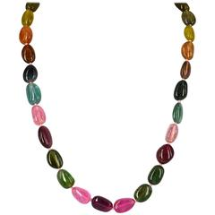 Exceptional Tourmaline Nugget and Gold Necklace