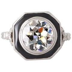 Art Deco 2.20 Carat Transition Cut Diamond and Onyx Platinum Ring