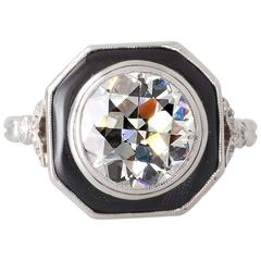 Art Deco 2.20 Carat Transition Cut Diamond and Onyx Platinum Ring