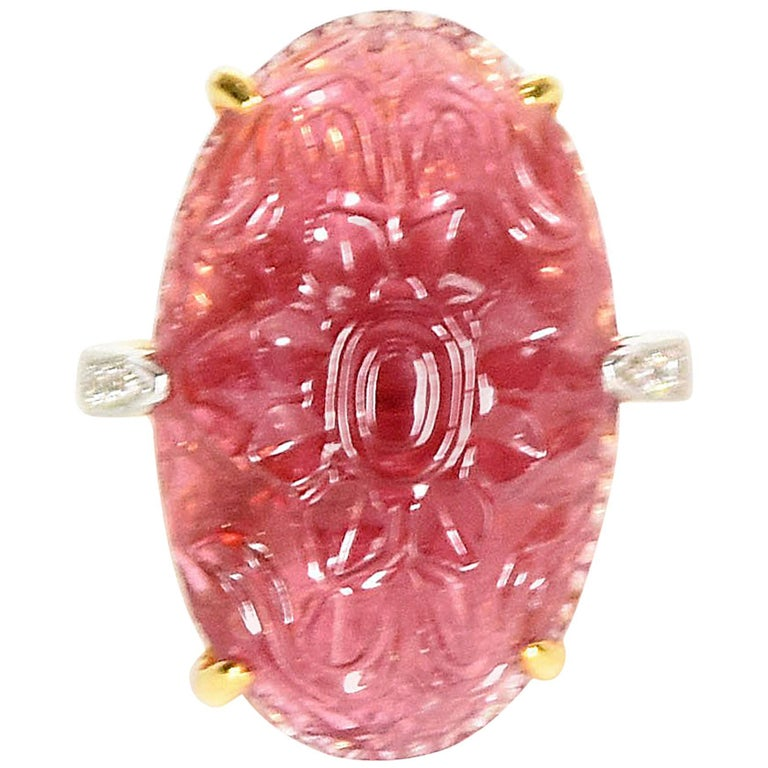 29 Carat Pink Tourmaline and Diamond Ring