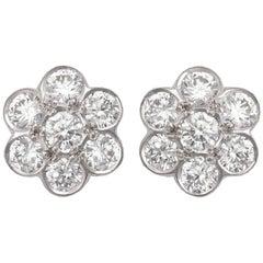 Diamond Daisy Stud Earrings 1.74 Carat
