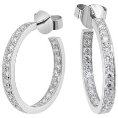 'Eternal' Diamond White Gold Hoop Earrings