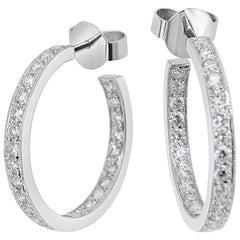 'Eternal' Diamond White Gold Hoop Earrings