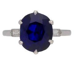 Boucheron Paris Solitaire Natural Unenhanced Burmese Sapphire Diamond Ring