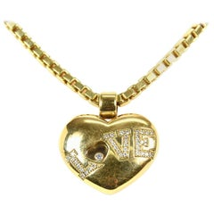 Chopard Happy Floating Diamond Love Heart Pendant Necklace in 18 Carat Gold