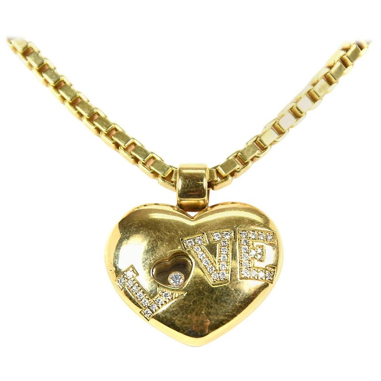 Chopard happy floating diamond love heart pendant necklace in 18 chopard happy floating diamond love heart pendant necklace in 18 carat gold for sale mozeypictures Images