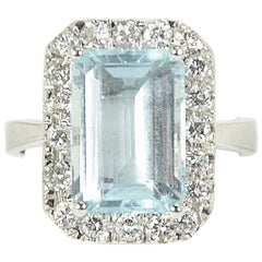 4.3 Carat Aquamarine Diamond White Gold Cocktail Engagement Halo Ring