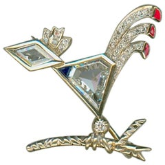 Rooster Brooch with Diamonds, Rubies and Sapphire