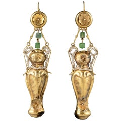 Very Elegant Italian Earrings in Gold and Pearls, Late 18th Century