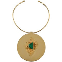 Pendant in Bronze, Gold and Malachite, Karry Berreby Creation with a 1970s Pin